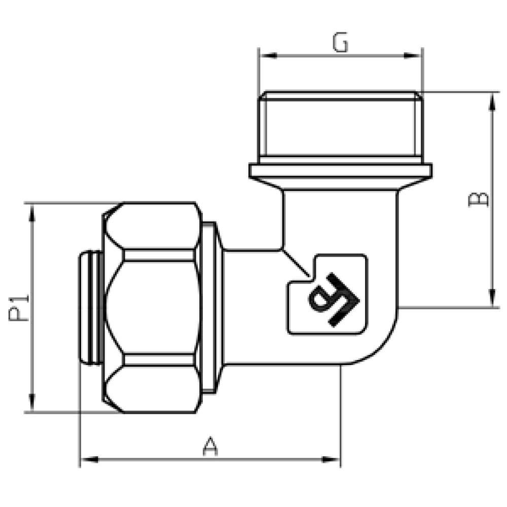 Угол обжимной с наружной резьбой FADO COMPRESS 20х3/4''